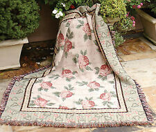 """THROWS - COTTAGE ROSE TAPESTRY THROW BLANKET - 50"""" X 60"""""""