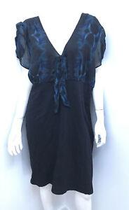 New! ESTELLE chiffon teal print tie neck ponte dress ~ sz 18
