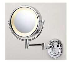 """8"""" Chrome Finish Dual Sided Surround Light Wall Mount Makeup Mirror (Hardwired)"""