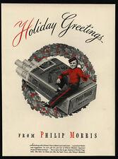 1942 Holiday Greetings - Johnny - Christmas Wreath - PHILIP MORRIS - VINTAGE AD