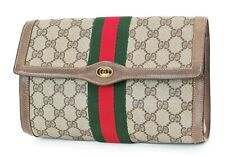 Auth Vintage GUCCI Brown Canvas and Leather Cosmetics Bag Clutch Pouch #37009