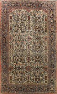 Antique Pre-1900 Vegetable Dye Sultanabad Area Rug Geometric Handmade WOOL 10x13