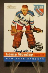 2000-01 Topps Heritage Autographs #HA-LW Lorne Gump Worsley On Card Auto