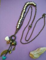 handcrafted hearts freshwater pearls long brass necklace