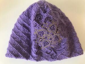 Women's Columbia Purple & Gold Snowflake Knit Beanie Winter Ski Cap Hat