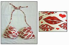 COBEY CALZEDONIA ITALY ~LUSCIOUS LIPS~ PINUP BEAUTY PADDED PUSH-UP BIKINI TOP 34