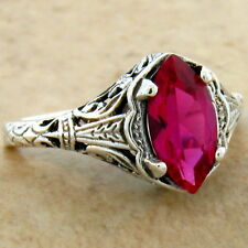 RED LAB RUBY ANTIQUE ART DECO DESIGN 925 STERLING SILVER RING SIZE 8,       #625