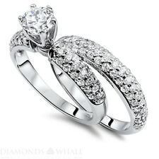 G/VS Engagement Ring 1.92 CT Round Cut 18k White Gold Enhanced Diamond Ring