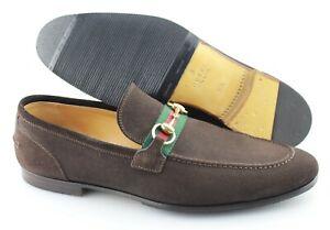 Men's GUCCI 'Jordaan Horsebit' Brown Suede Loafers Size US 11.5 UK 10.5