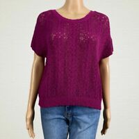 Anthropologie Moth Loose Open Knit Sweater Medium Purple Short Dolman Sleeves