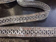 1M  SILVER BRAID METALLIC LACE RIBBON TRIM WITH DIAMANTE 24 MM WIDE