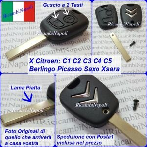 Scocca Chiave Telecomando Guscio Logo a 2 tasti Citroen C1 C2 C3 C4 C5 Berlingo