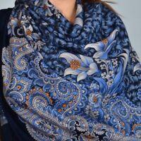 Russian Pavlovo Posad Wrap Shawl Made in Russia 100% Wool Morozko Blue Pattern
