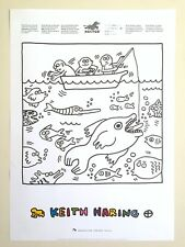 KEITH HARING ESTATE RARE 1991 LITHOGRAPH PRINT FISHING POP ART COLLECTOR POSTER