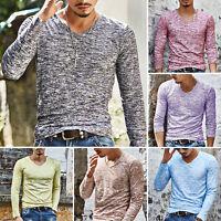 Mens V neck Slim Fit Muscle Long Sleeve Slim T-shirts Casual Tee Shirt Top M-3XL