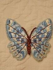 VINTAGE 1960'S BLUE BUTTERFLY PATCH EMBROIDERY APPLIQUE BOHO HIPPIE FESTIVAL