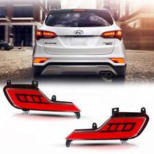 JSP Style Red LED Rear Fog Lights Tail Brake Lamp For 2017-up Hyundai Santa Fe