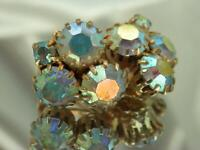 Vintage 60's Stunning Large Sparkling AB Rhinestone Cluster Clip Earrings 776o9