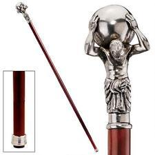 Italian Pewter Titan Atlas Polished Hardwood Walking Stick Cane NEW