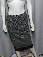 Bobeau Womens Size Medium Stretchy Lace Polka Dot Black White Midi Skirt