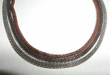 ELEGANT TRIPLE SNAKE CHAIN NECKLACE SILVER PLATED CHAR BLACK & COPPER PLATED 15""