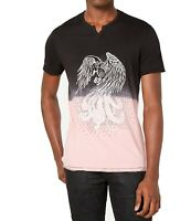 INC Mens T-Shirt Pink Black Size M Ombre Studded Eagle Split Neck Tee $29 180