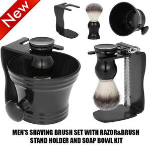 Men's Shaving Brush Set With Razor&Brush Stand Holder and Soap Bowl Kit R9D9