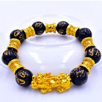 Unisex Obsidian Feng Shui Bracelet Original Quality Alloy Wealth Natural Stone