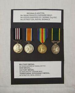 WW1 Medal Set Inc. Territorial Efficiency Medal Awarded To Reginald Ashton