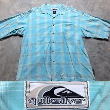 90s VTG QUIKSILVER Shadow PLAID Rayon SURF Camp SKATE Shirt XL Quicksilver Gray