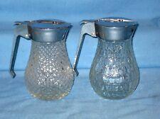 Vtg Lot 2 Glass Diamond + Pattern Maple Syrup Pitcher Dispencers W/Sliding lids!