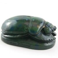 Scarab Egyptian Carved Wooden Beetle Hieroglyphics Paperweight Figurine Green