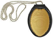 Black Leather Clip-On Shield Style Badge Holder Pocket Belt Clip Neck Chain