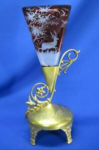 ART DECO BOHEMIAN RUBY CUT TO CLEAR STAG VASE IN BEAUTIFULLY STYLED HOLDER