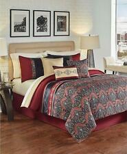 Hallmart Collectibles Farrah 6 Piece Queen Comforter Set Burgundy / Black $200