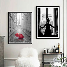 Girl in Window Poster Red Umbrella Paris Street Boho Home Decor Canvas Painting
