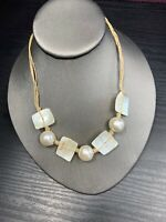 Falsi Gioielli Firenze Italy Choker White mother of pearl cotton Jute chain 16""