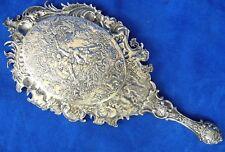 Antique German Silver Repousse Hand Mirror Jacob Storck & Louis Sinsheimer Hanau