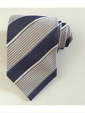 Hugo boss men tie striped navy blue ivory and beige 100 % silk