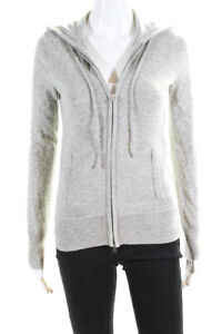 J Crew Collection Womens Cashmere Full Zipper Hoodie Heather Gray Size Large