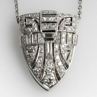 "Estate 1950'S Art Deco Diamond Pendant With 18"" Chain In 14K White Gold Over"