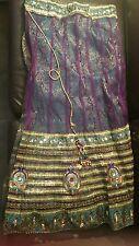 Indian 💟 Pakistani 💟 Bridal Lengha 💟 Bridal Dress 💟 Purple Green 💟 size 14