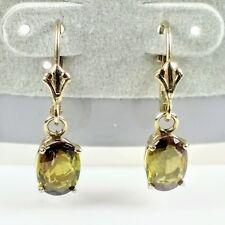 Sparkling 14K Yellow Gold Oval Green Peridot Dangle Earrings August Birthstone
