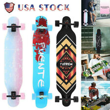 Adults Skateboard Complete Longboard Maple Flash Wheel Downhill Through Cruiser