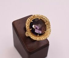 Size 6 Amethyst Diamond Cut Wavy Oval Filigree Ring 14K Yellow Gold Clad Silver