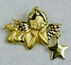 Cherub Angel Brooch with Dangle Star Frosted and shiny Gold Tone Pin Signed AJC