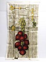 NOS Vintage KAY DEE Pure Linen Kitchen Tea Towel Red Onions Woodgrain Print