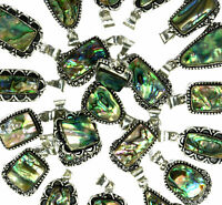Natural Abalone Shell Gemstone 925 Sterling silver overlay pendant wholesale lot