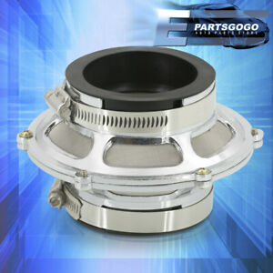 """Universal 2.5"""" Cold Air Intake Turbo Bypass Valve Filter 63.5mm Silver w/ Clamps"""