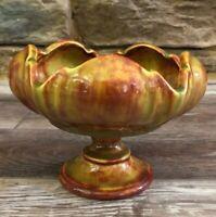 VTG Ceramic Footed Vase Compote With Floral Frog Unique